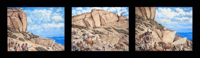 Slip scrapers, horses, canal project in Wyoming, LDS Church murals and paintings
