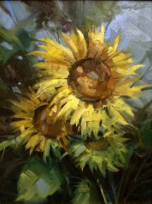 Sunflowers, paintings, ath the Flanagans in Dayton, Wyoming